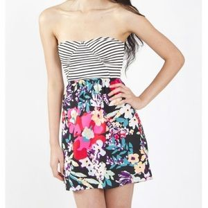 Roxy Stripe/Floral Strapless Dress